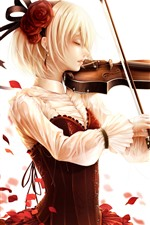 Preview iPhone wallpaper Short hair blonde girl, play violin, rose petals, anime