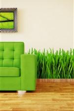 iPhone обои Диван, трава, зеленый, креативный дизайн