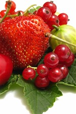 Strawberry, cherry, red currants, white background