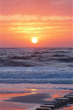 Preview iPhone wallpaper Sunrise, sea, waves, beach, morning