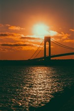 Preview iPhone wallpaper Sunset, sea, bridge, shine, glare