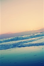 Sunset, sea, water, foam, beach, horizon