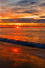 Sunset, sea, water, foam, beach, sky, clouds