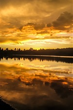 Sunset, sky, clouds, tree, lake, water reflection
