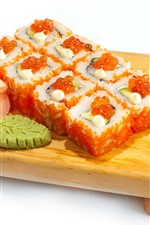 Sushi, caviar, carne, comida japonesa