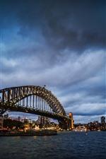 Preview iPhone wallpaper Sydney, bridge, sea, lights, night, city, Australia