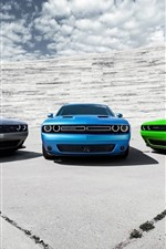 Preview iPhone wallpaper Three colors Dodge sport cars