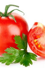 Preview iPhone wallpaper Tomatoes, white background, green leaf