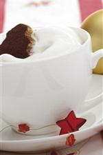 Preview iPhone wallpaper White cup, cream, stars, Christmas ball