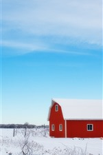 Winter, snow, barn, house, tree, blue sky