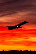 Preview iPhone wallpaper Airplane, sky, sunset, silhouette