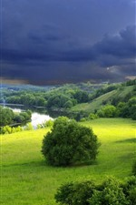 Beautiful nature scenery, green grass, plants, river, thick clouds