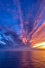 Preview iPhone wallpaper Beautiful sunset, sea, sky, clouds, stripes