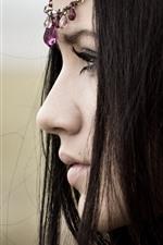 Preview iPhone wallpaper Black hair girl, face, side view, eyelash, headdress