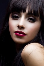 Preview iPhone wallpaper Black hair girl, makeup, red lip