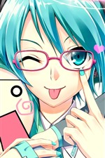 Preview iPhone wallpaper Blue hair anime girl, playful, Hatsune Miku
