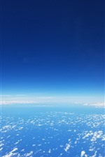 Blue sky, white clouds, height