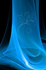 Preview iPhone wallpaper Blue smoke, abstract, flowers, black background