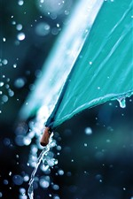 Preview iPhone wallpaper Blue umbrella, water splash, rainy day
