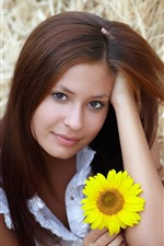 Preview iPhone wallpaper Brown hair girl and sunflowers