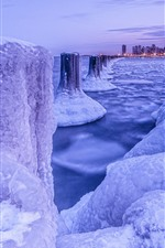 Preview iPhone wallpaper Chicago, snow, ice, sea, city, winter