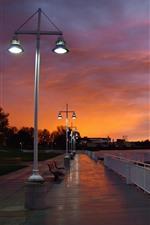 City, sunset, night, promenade, lights, trees, sea
