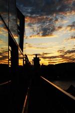 City, sunset, night, river, bridge