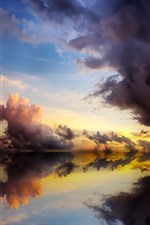 Preview iPhone wallpaper Clear water, lake, reflection, clouds, dusk