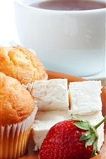 Preview iPhone wallpaper Cupcakes, strawberries, candy, coffee