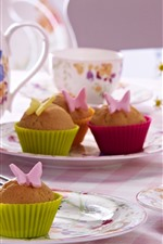 Preview iPhone wallpaper Cupcakes, tea, cups
