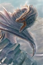 Preview iPhone wallpaper Dragon, wings, warrior, art picture