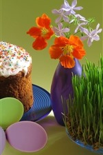 Preview iPhone wallpaper Easter eggs, cake, grass, flowers