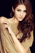 Preview iPhone wallpaper Fashion girl, brown hair, hairstyle, black background