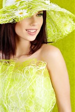 Preview iPhone wallpaper Fashion girl, green style, hat, smile