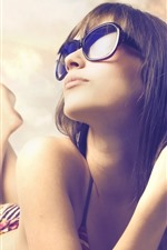 Preview iPhone wallpaper Girl, pose, sunglass, sea