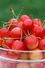 Preview iPhone wallpaper Glass bowl, many cherries, fruit