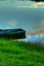Preview iPhone wallpaper Grass, river, boat, summer