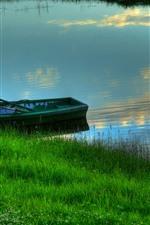 Grass, river, boat, summer
