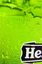 Preview iPhone wallpaper Heineken beer, green bottle, surface, water droplets
