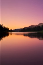 Preview iPhone wallpaper Lake, mountains, trees, sunset, water reflection
