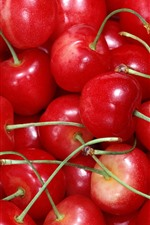 Muitas cerejas deliciosas, frutas frescas