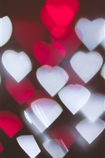 Preview iPhone wallpaper Many red and white love hearts, light, abstract