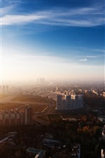 Preview iPhone wallpaper Moscow, city, top view, factory, smoke, buildings, morning, sunshine