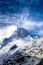 Mountain, snow, peaks, blue sky, clouds