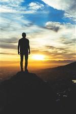 Topo da montanha, nuvens, pôr do sol, homem, silhueta