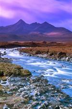 Mountains, creek, sky, purple clouds