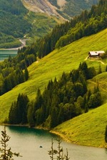 Preview iPhone wallpaper Mountains, slope, trees, river, house