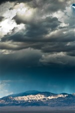 Preview iPhone wallpaper Mountains, thick clouds, dusk
