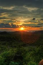 iPhone обои Природа пейзаж, лес, деревья, солнце, горы