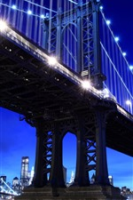Preview iPhone wallpaper New York, night, lights, river, bridge, USA